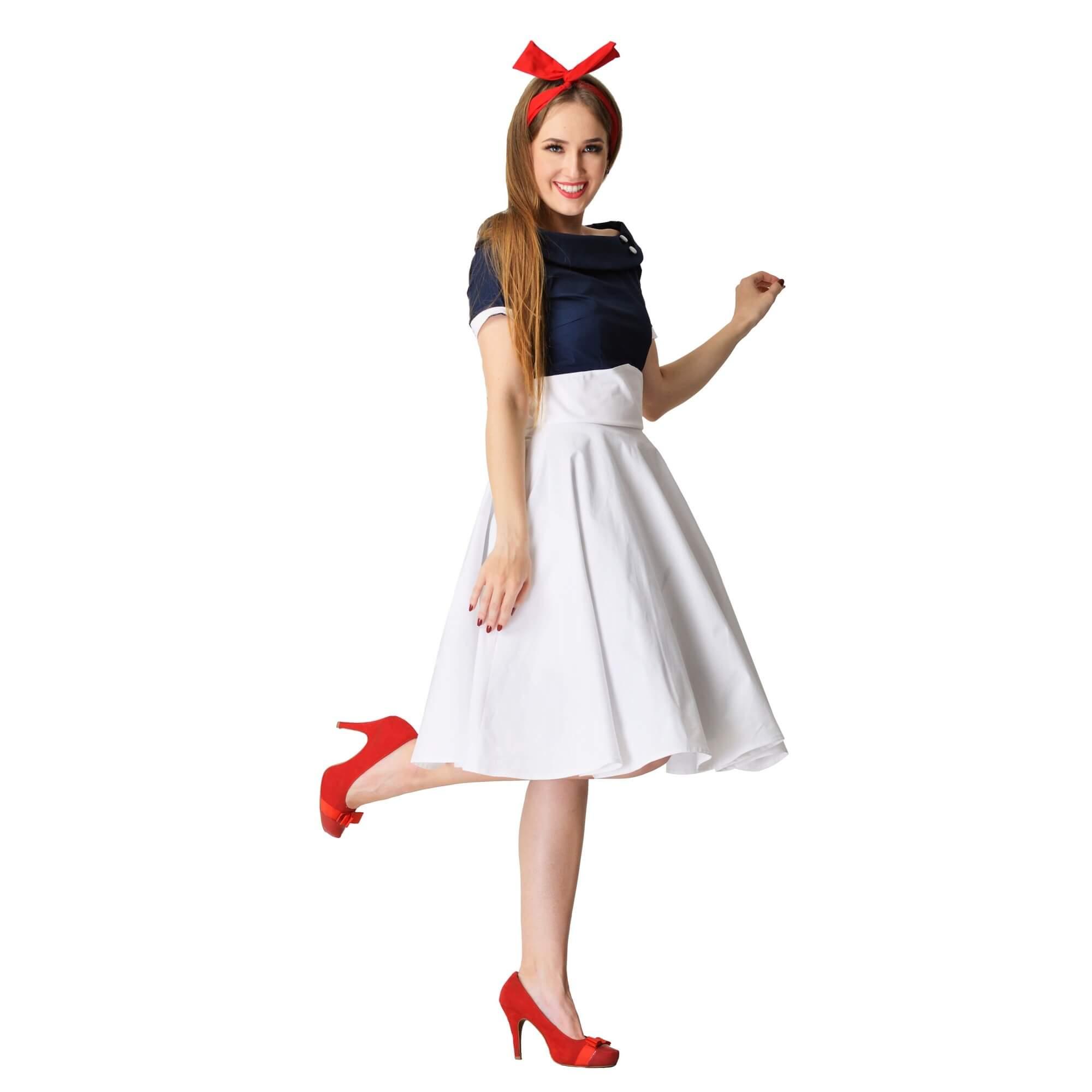 krasne retro šaty modro biele
