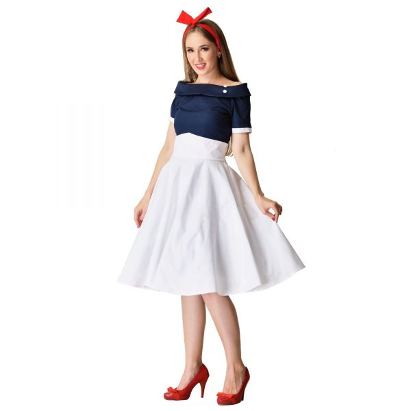 modro biele retro šaty