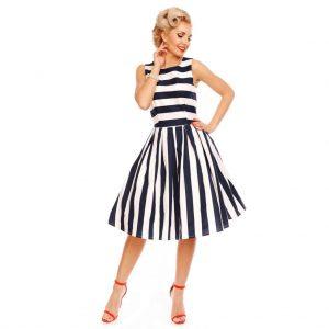 Prúžkované šaty retro (modro-biele)