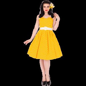 Retro žlté bodkové šaty s mašľou (1950 Sophie )