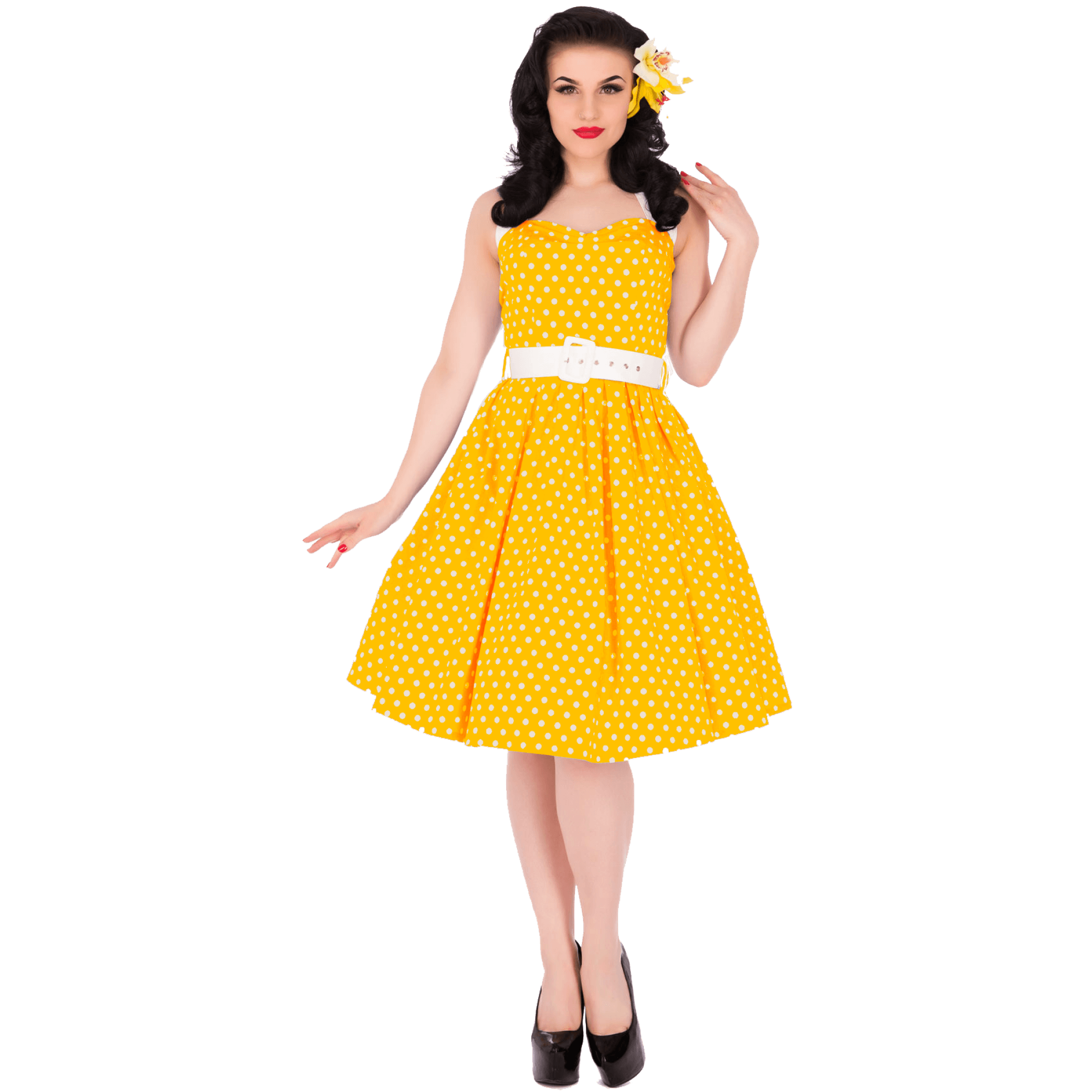 rebelské retro šaty žlté s bodkami