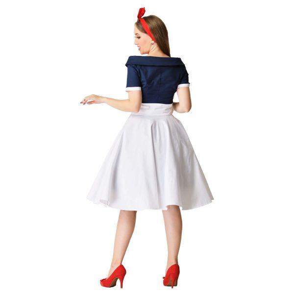 šaty na party retro modro biele