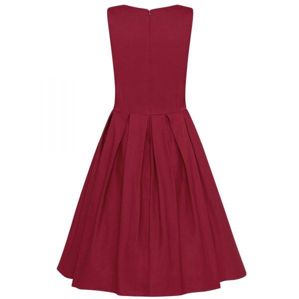 retro šaty burgundy na swing