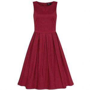 Retro štýlové šaty swingové (Poznáte Burgundy?)
