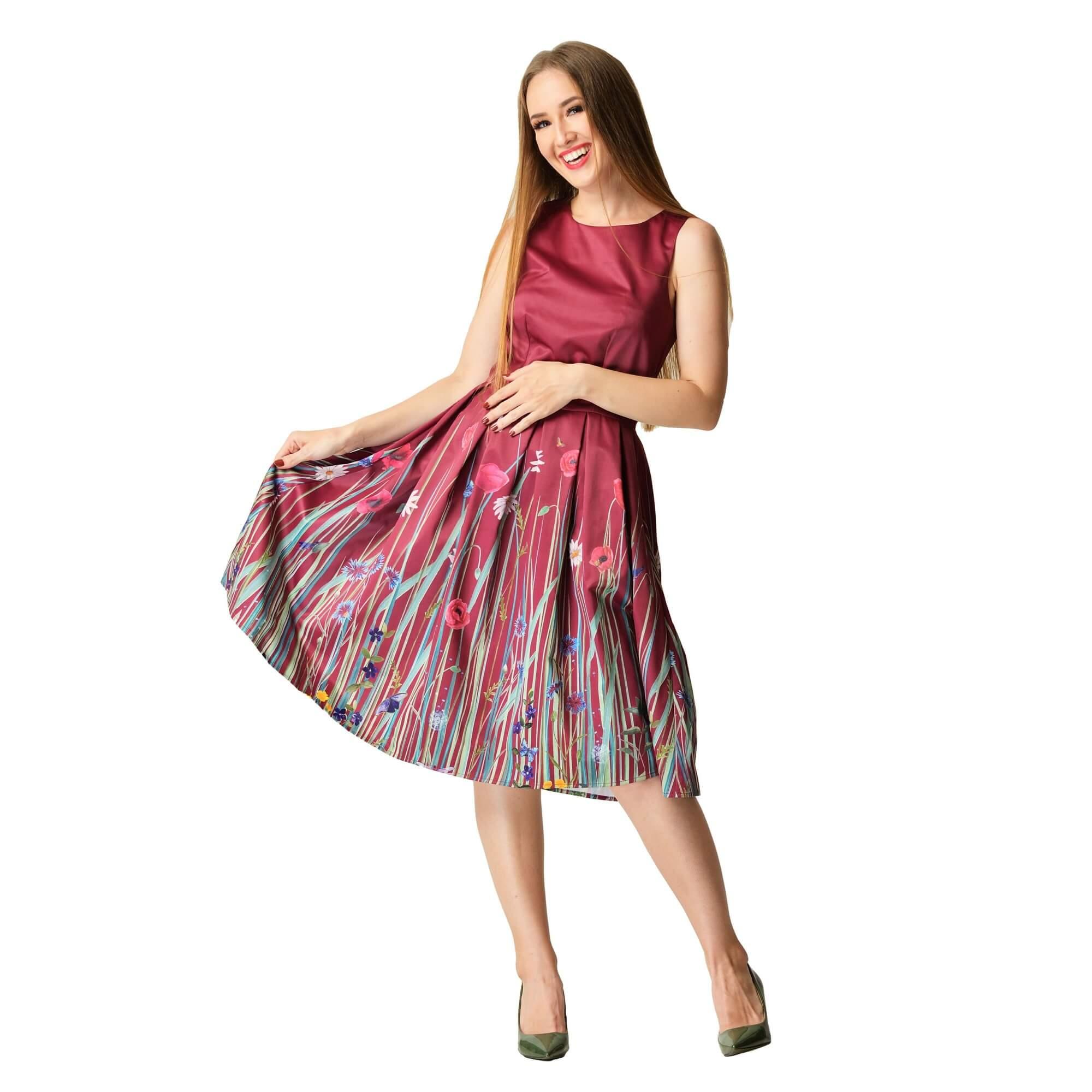 spoločenské šaty retro s potlačou