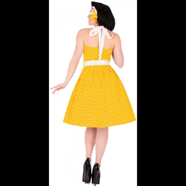 žlté retro šaty s bodkami retro