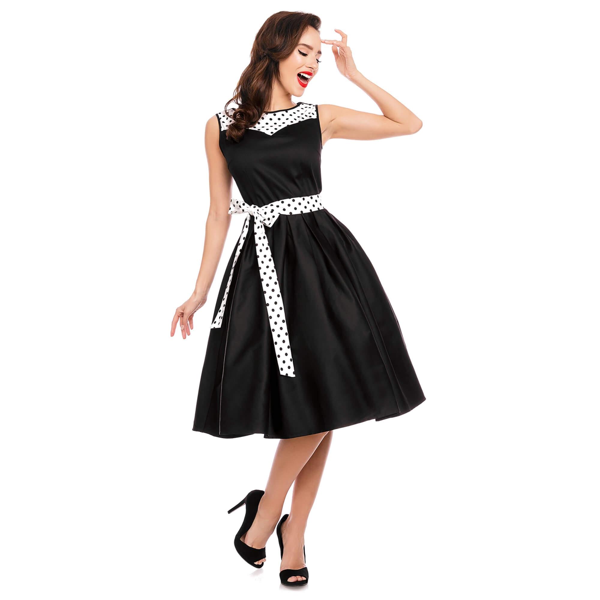 čierne retro šaty s bielym opaskom