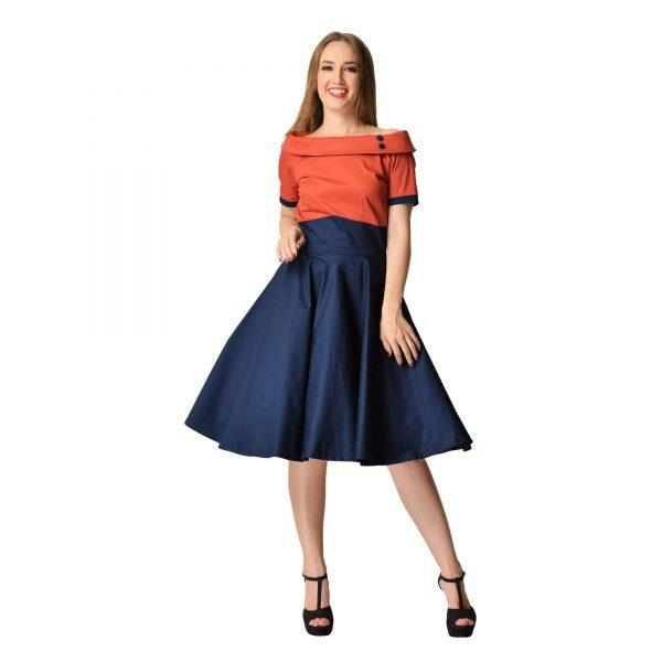 retro swingové šaty modro oranžové