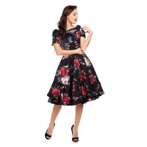 Retro šaty čierne s ružami
