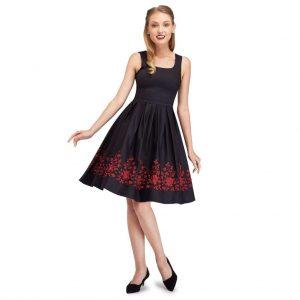 Retro šaty čierne s vyšívanými kvetmi