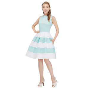 Bledomodré retro šaty s áčkovým strihom