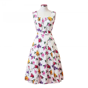 Biele vintage šaty s kvetmi v žiarivých farbách
