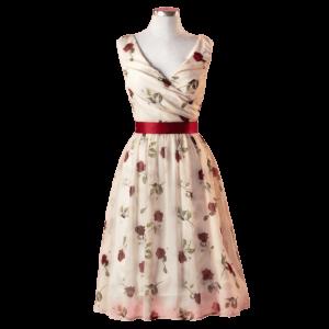 Nežné vintage šaty s ružami a so stuhou