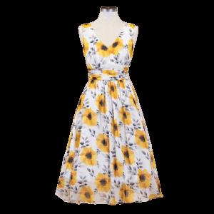 Letné romantické šaty so slnečnicami