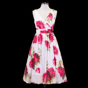 Letné biele šaty s rozkvitnutými ružami