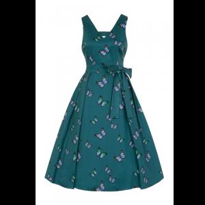 Modro-zelené vintage šaty s motýlikmi