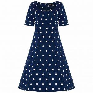 Retro šaty modré s rukávmi