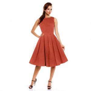Retro šaty v ohnivej Chili farbe