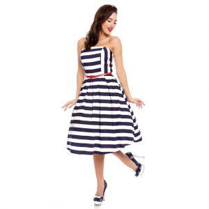 Retro námornícke pruhované šaty