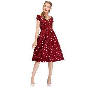 Puntíkaté retro šaty v burgundy farbe