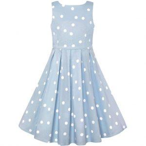 Retro detské šaty svetlo modré