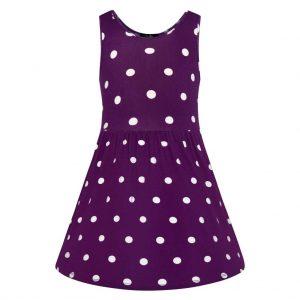 Fialové detské šaty s puntíkmi