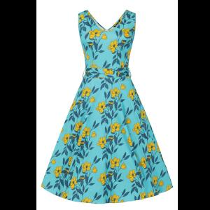 Vintage tyrkysové šaty so žltými kvetmi