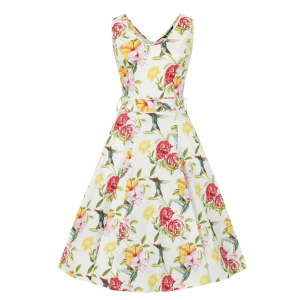 Vintage šaty s kolibríkmi, ružami a ibištekmi