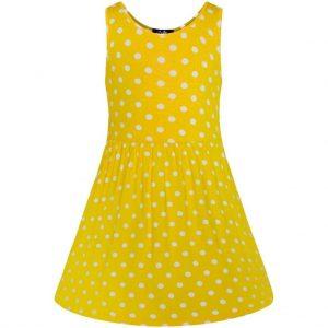 Žlté detské šaty s puntíkmi