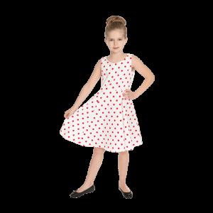 Dievčenské šaty biele s červenými bodkami