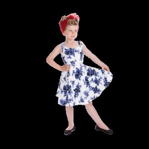 Biele dievčenské šaty s modrými ružami