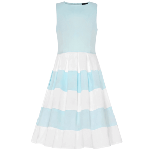 Modré detské šaty s pásikavou sukňou