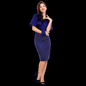 Vintage sukňa modrá s bielymi bodkami úzka