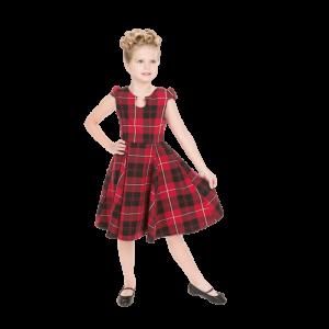 Kárované dievčenské šaty červené