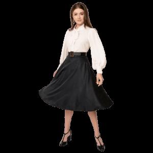 Elegantná retro čierna sukňa s vysokým pasom