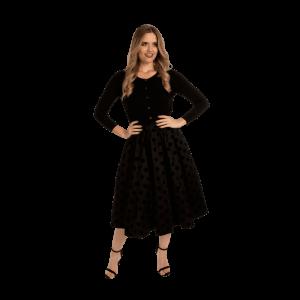 Áčková retro sukňa čierna s bodkami