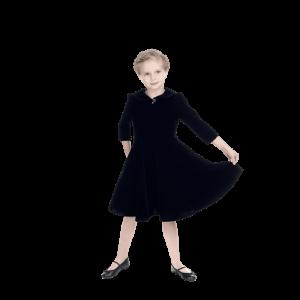 Detské zamatové šaty v čiernej farbe