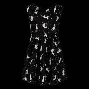 Retro detské šaty čierne s mačičkami