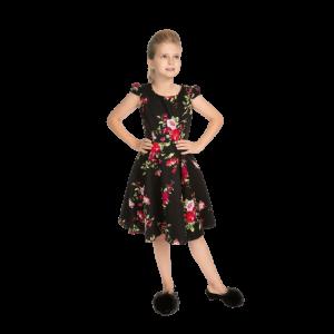 Čierne dievčenské šaty s kvetmi farby lila