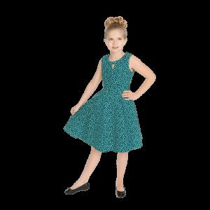 Dievčenské šaty zelené bodkované