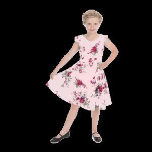 Ružové dievčenské šaty s kvetmi farby lila