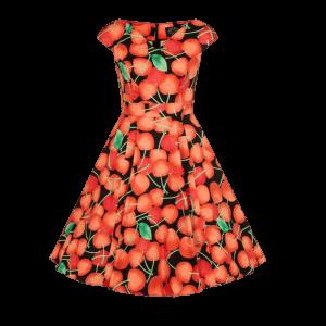 Čierne detské šaty posiate čerešňami