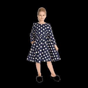 Dievčenské zimné retro šaty bodkované