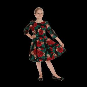 Dievčenské zimné šaty posiate kvetmi