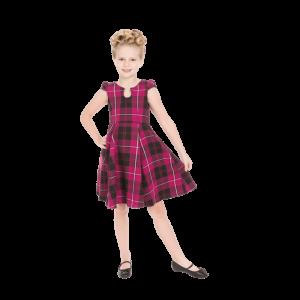 Kárované dievčenské šaty fialové