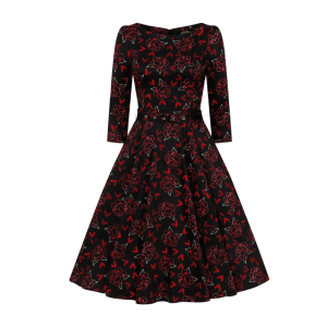 Retro šaty s červenými ružami na zimu