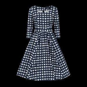 Retro modré šaty so srdiečkami