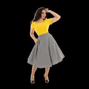 Károvaná áčková retro sukňa