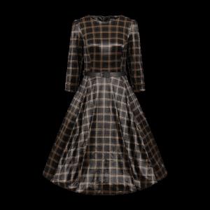 Čierne šaty so zlatým károvaným vzorom