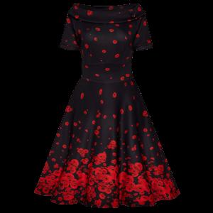 Luxusné čierne šaty s padajúcimi kvetmi maku